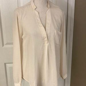 Lush: cream slinky blouse w/long sleeves. V-neck!